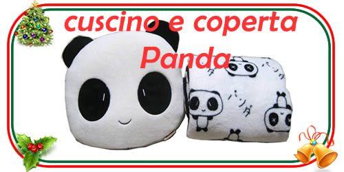Kit composto da cuscino di peluche e coperta in pile per gli amici del panda