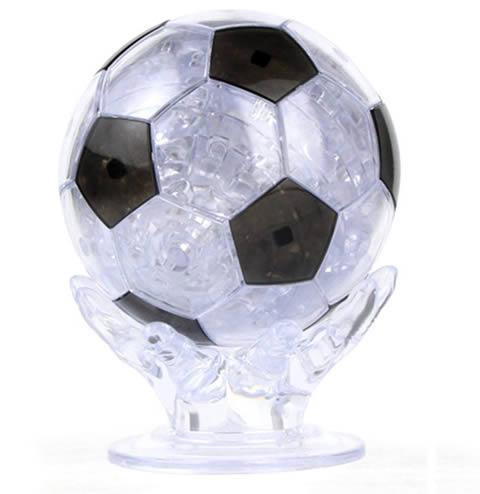 pallone calcio in cristallo e gioco del puzzle 3d