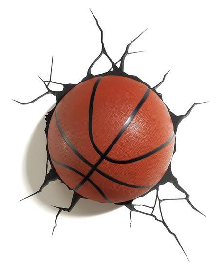 Lampada 3D da basket da parete