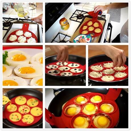 dettaglio per l'impiego dello stampo per pancake in silicone