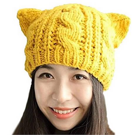 cappello con orecchie in maglia di colore giallo