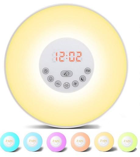 radiosveglia con lampada colorata