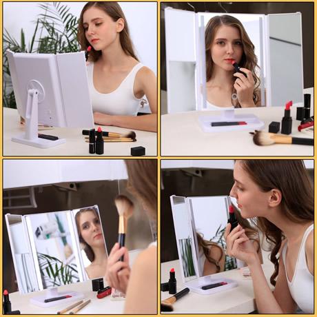 esempiodi utilizzo del triplo specchio per make up