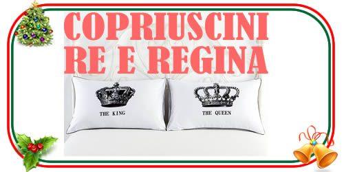 copricuscino con disegno della corona e scritta Re e Regina
