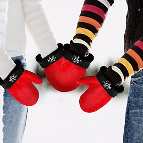 esempio dei guanti dell'amore di coppia indossati